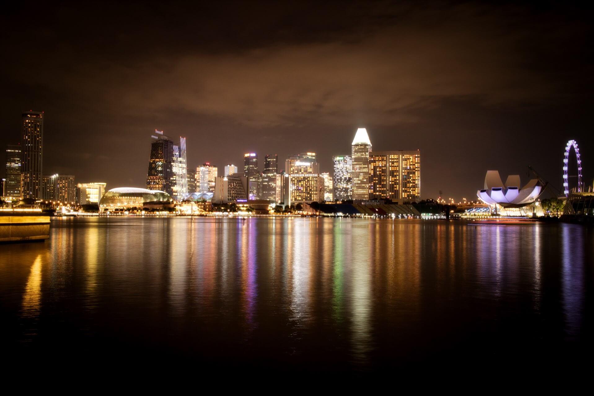 Singapore Skyline at Night Marina Bay