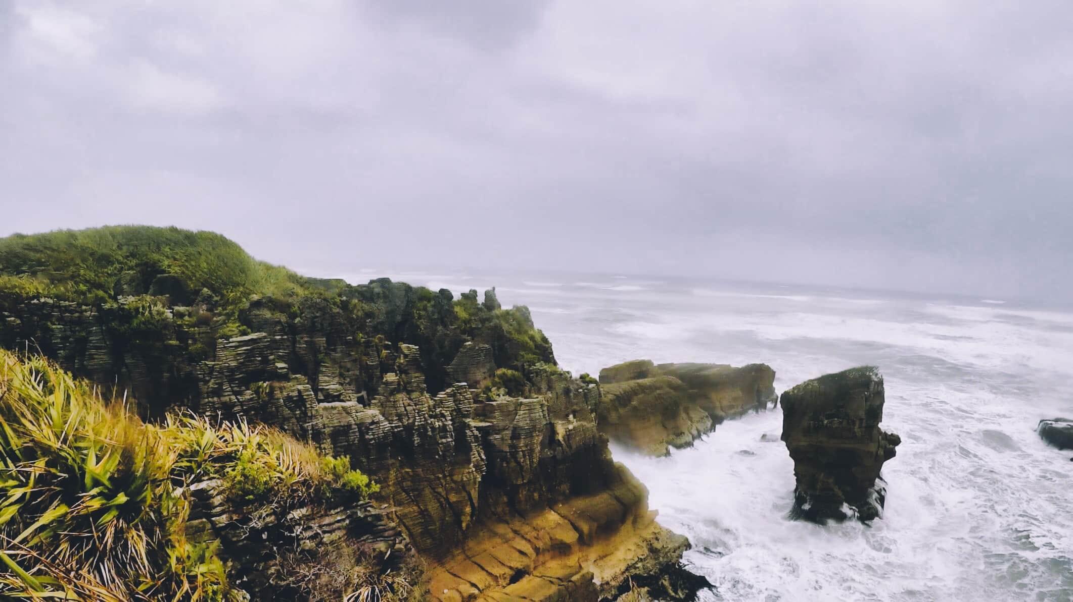 Pancake Rocks New Zealand rainy weather