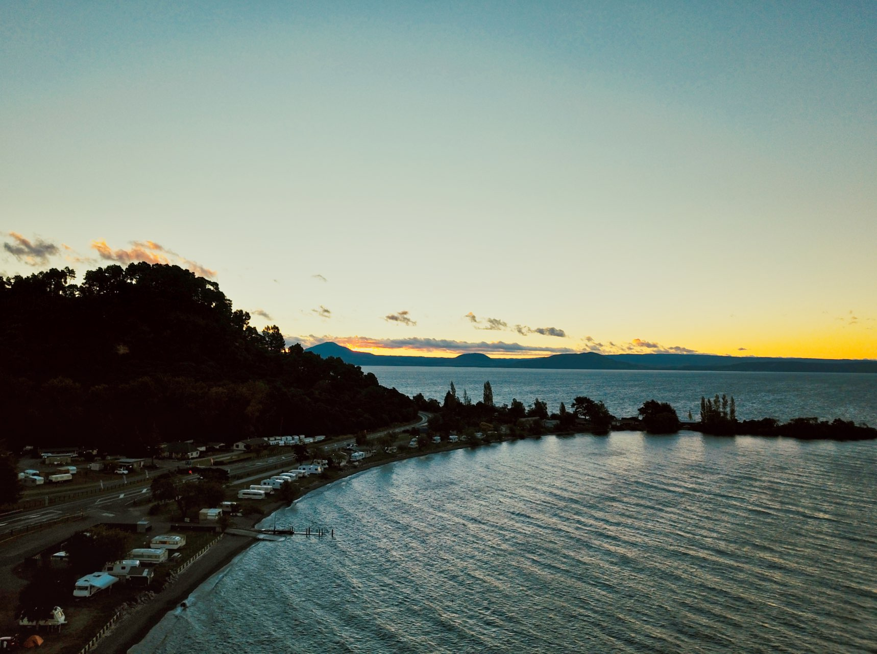 Sunset Lake Taupo New Zealand